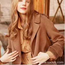 Wind home, cool suede! Cream Camel Soft Textured Lapel Waistband Autumn and Winter Versatile Shirt BY0381