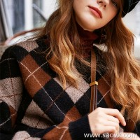 Wind home, two in England! Big love couple family yak velvet British plaid warm sweater MZ0807