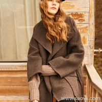Wind home Cashmere can also be gravel! Drunk classic Montmartre large lapel long coat FY0243