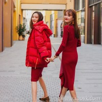 Wind home Classic again! Precision plastic waist round neck long sleeves warm wool knit skirt QZ0651