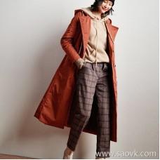 Wind home is mellow! Exquisite color matte plaid high waist pants! KZ0430