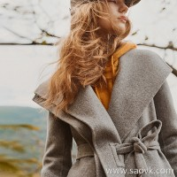 Wind home Annual drunk beauty! Sculpture silhouette asymmetrical double lapel collar waist thick coat FY0247