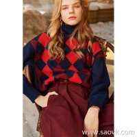 Wind home, no longer Kangqiao! All kinds of slim and all kinds of fashionable plaid micro high collar style sweater MZ0846