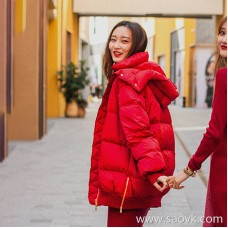 Wind home Florence red! Italian design, red, medium and long half pack hip down jacket YR0110