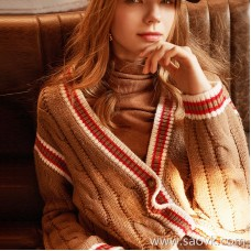 Wind home warm and intellectual beauty! College wind twisted flower needle coat warm V-neck large cardigan WT0204