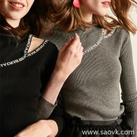 Wind home niche design! Sexy hipster street fashion small strapless letters decorative wool sweater MZ0787