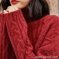 Wind home Eyes and lips are deep! Raspberry red thick high collar twisted yak sweater sweater MZ0847