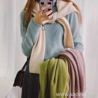 Wind home is soft-focused young lady! Trendy 4 color pure cashmere soft fog stacking bottoming shirt MZ0839
