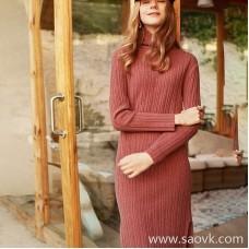Wind home, happy to sink! Dry rose yak velvet side slit mini high collar dress QZ0793