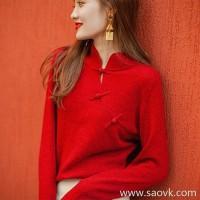 Wind home New season Muyuqing! Hand-made buckled yarn yak velvet slanting door 襟 Chinese-style slim sweater MZ0864