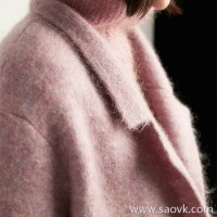 Wind home Wind has been intoxicated! Poisoned Italian heavy magnetic crepe yarn lapel knit coat coat FY0232