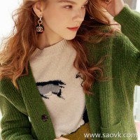Wind home Limited edition Baby Yak! Italy imported yak velvet avocado green magnetic thick cardigan MZ0813