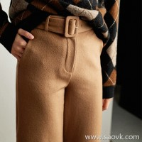 The wind home is about the completion of the rich man! Classic camel strokes pretty wool nine points wide leg pants KZ0416