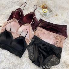 Wind home Sexy warmth! Internal N-person velvet autumn and winter bra underwear set LT0087