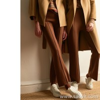 Wind home screaming pants! Warm black tea mocha wool micro-la versa pants KZ0389
