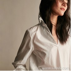 Wind home I have seen shirts! High cotton V-neck design with a sense of white shirt BY0315