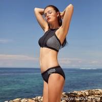 Sisia new European and American black bikini swimsuit big breast sexy small chest was thin beach sports swimsuit women
