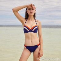 Sisia Europe and the United States new blue navy style bikini big chest steel ring gathered small chest sexy vacation swimsuit women