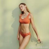 Sisia new European and American ins bikini big breasts sexy small chest gathered orange beach hot spring split swimsuit women