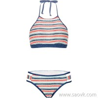 Sisia European and American beach sexy big breasted bikini swimsuit female small chest gathered vest high neck split swimsuit