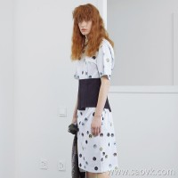 JNBY / Jiangnan Cloth 2019 Summer New Retro Polka Dot Long Short Sleeve Dress Female 5I3503610
