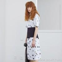 JNBY / Jiangnan Cloth 2019 Summer New Retro Polka Dot Long Short Sleeve Dress Female 5I3503610