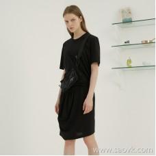 JNBY / Jiangnan commoner 2019 new irregular pleated short-sleeved long dress female 5I4511160