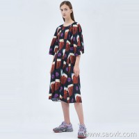JNBY / Jiangnan Cloth Dress 20 Spring Summer Discount New Cotton Retro Print Mid-length Skirt
