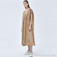 JNBY / Jiangnan commoner dress 20 spring and summer discount new loose V-neck drawstring long skirt 5J5501660