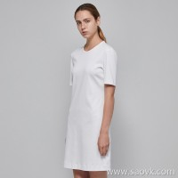 JNBY / Jiangnan commoner 2019 new round neck hedging short T-shirt dress female 5I4512110