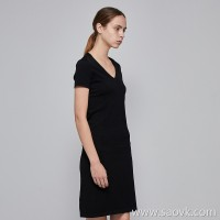 JNBY / Jiangnan commoner 2019 summer new v-neck hedging Slim short dress female 5I3823030
