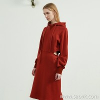 JNBY / Jiangnan commoner 2019 autumn new cotton hollow hooded pullover sweater dress female 5I7503830