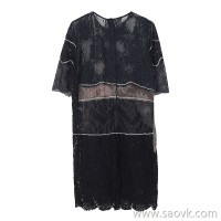 JNBY / Jiangnan commoner 2019 autumn new loose color matching lace short-sleeved dress female 5I8510740